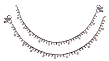 Pink silver plated anklets