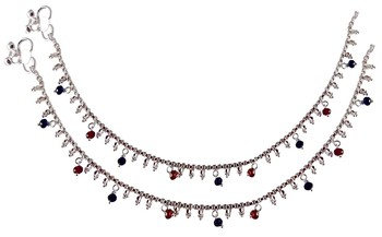 Red silver plated anklets