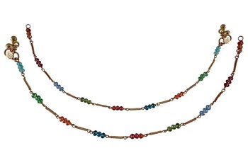 Multicolor silver plated anklets