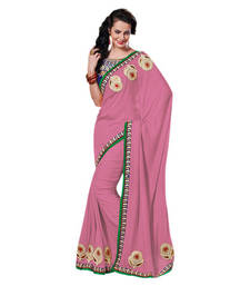 Buy Hypnotex Pink Viscose Saree Indian104 party-wear-saree online