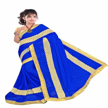 gudi padwa saree Blue embroidered georgette saree with blouse