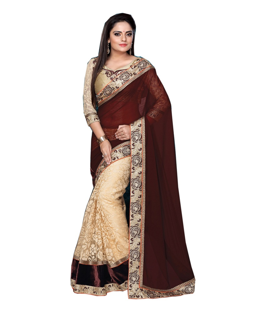 0376794b31c5 Maroon embroidered georgette saree with blouse - A to Z ENTERPRISE - 1589594
