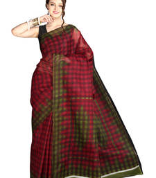 Buy Pavecha's Mangalgiri Cotton Blend Printed Saree - Fiza Maroon MK893 cotton-saree online