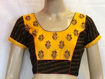 Black Ikkat cotton stitched Blouse