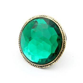 Vintage Green Stone Ring(CFR0102)