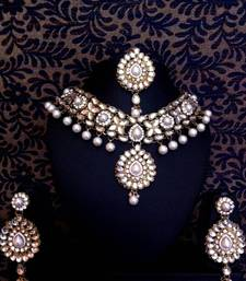 Buy Kundan Work in Flower & Leaves with Dangling Pearls Indian Necklace Set d12w necklace-set online