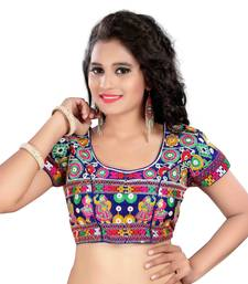 Buy Multicolor cotton embroidered blouse fabric women-ethnic-wear online