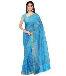 Buy Blue printed silk saree with blouse great-indian-saree-festival online