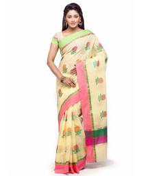Buy Yellow Cotton Handloom Traditional Saree kota-silk-saree online