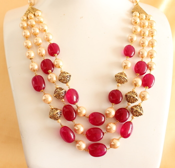 Royal Semiprecious Stone Multilayer Necklace Set