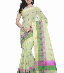 Buy Light Green Cotton Handloom Traditional Saree kota-silk-saree online