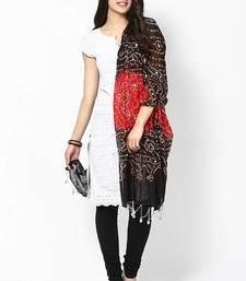 Stunning Red Black Cotton Bandhej Dupatta