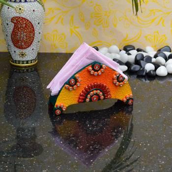 eCraftIndia Papier Mache Colorful Tissue Paper Holder