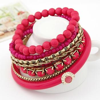 Pink Ocean Beads Multilayer Bangles Set(CFB0063)