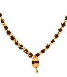 Buy Gold brass short link mala big rudraksha pendant chain for boys and men Other online