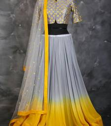 Buy Grey bhagalpuri embroidery Semi lehenga choli lehenga-choli online