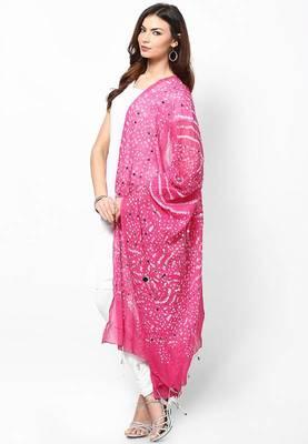 Amazing Pink Cotton Bandhej Dupatta