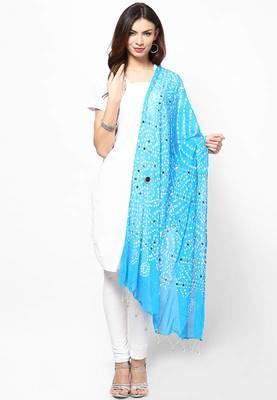 Stunning Blue Cotton Bandhej Dupatta with hand work