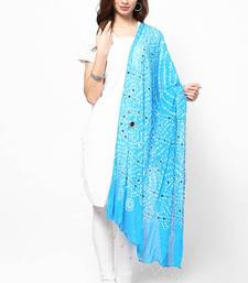 Stunning Blue Cotton Bandhej Dupatta with hand work