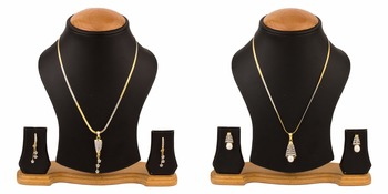 combo of two american diamond pendant sets / necklace sets with single chain for women & girls