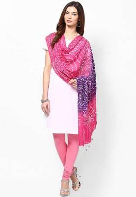 Pink Purple Cotton Hand Work Dupatta