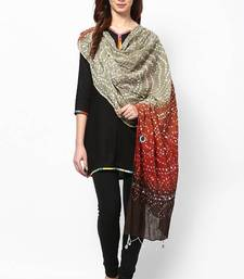 Buy Tri-color cotton bandhej hand work dupatta stole-and-dupatta online