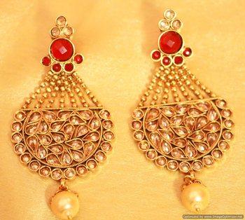 Antique Gold Ruby Polki Danglers