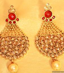 Antique Gold Ruby Polki Danglers
