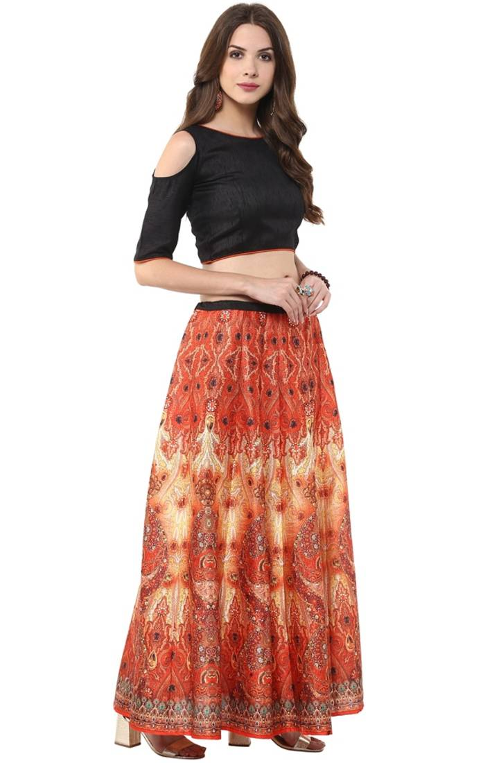 8b4dfbfc3 Women's Digital Printed Banglori Silk Skirt with Crop-Top - Janasya ...