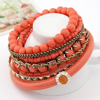 Coral Ocean Beads Multilayer Bangles Set(CFB0062)