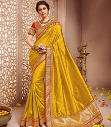 Buy Dark gold embroidered silk saree with blouse party-wear-saree online