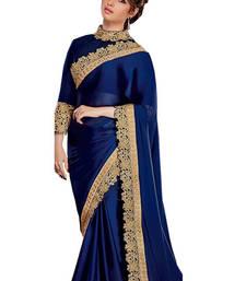 Buy Blue embroidered satin saree with blouse satin-saree online