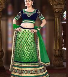 Buy Weding Special  Special Green Net With Work Lahanga  Blue velvet Choli With Green Net  Dupatta lehenga-choli online