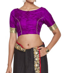 Buy Purple pure crepe readymade blouse readymade-blouse online
