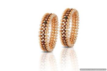 Just Women - Gold Plated Kada with Pearls