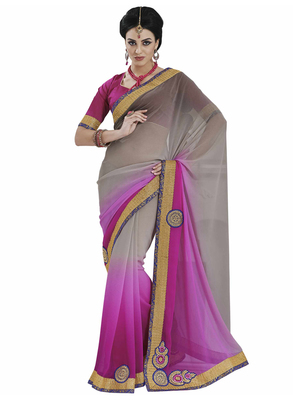 Grey embroidered chiffon saree with blouse