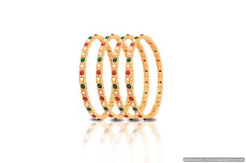 Just Women - Gold plated Set of 4 Multi Coloured Bangles