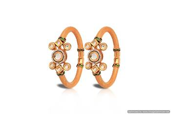 Just Women - Gold plated Kada studded with Kundan & CZ stones