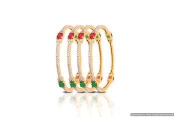 Just Women - Gold plated Bangles studded with 4 stones