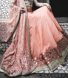 Buy Pink embroidered georgette semi-stitched lehenga bridal-lehenga online