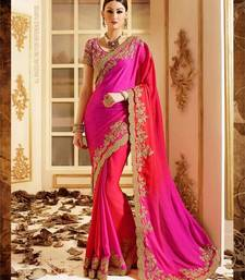 Buy Pink embroidered faux nazneen saree with blouse traditional-saree online