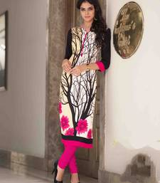 Buy Cream printed cotton party wear kurtis party-wear-kurti online