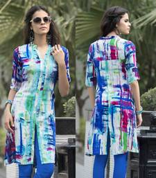 Buy Blue printed cotton party wear kurtis eid-kurti online