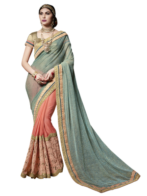 cyan and orange embroidered chiffon saree with blouse