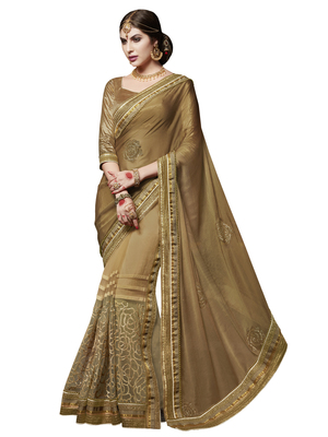 brown and beige embroidered chiffon saree with blouse