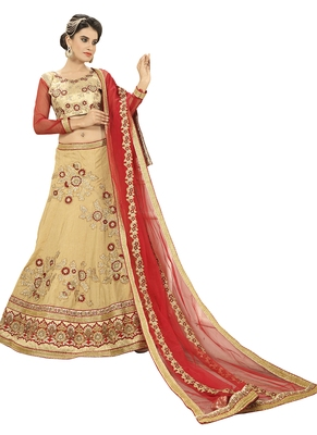Beige embroidered silk unstitched lehenga