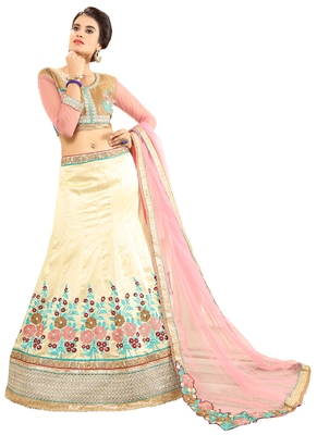 White embroidered silk unstitched lehenga