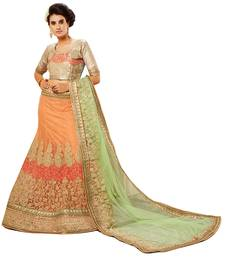 Buy Orange embroidered net unstitched lehenga wedding-lehenga online