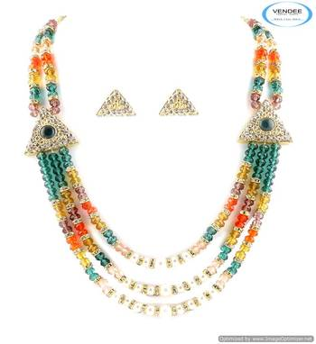 Vendee Unique fashion designer crystal & Beads necklace jewelry 5015