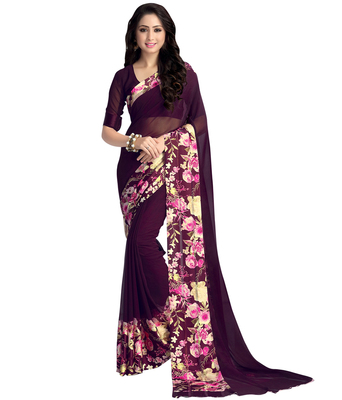 9efa394fd6a4e3 Purple printed georgette saree with blouse - Swaron - 1604409